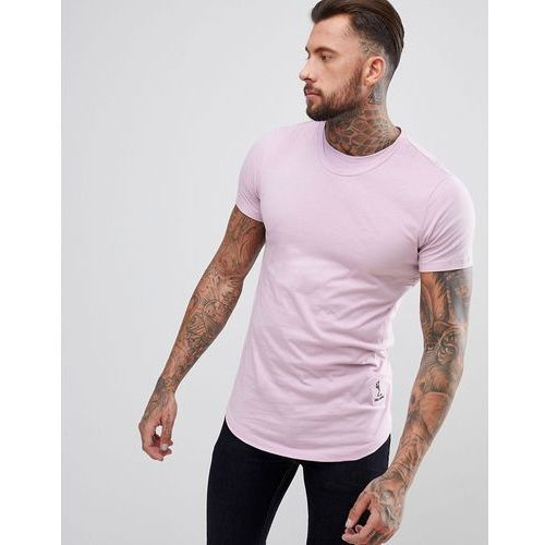 Religion longline t-shirt with curved hem and double neck in purple - purple