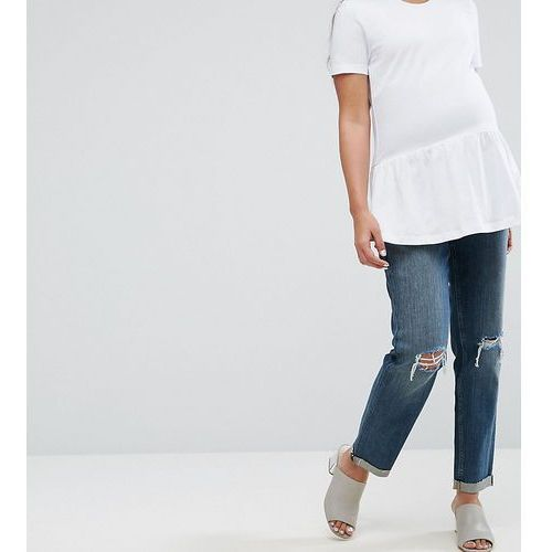 ASOS MATERNITY KIMMI Shrunken Boyfriend Jeans in Misty Wash with Busts and Rips With Over The Bump Waistband - Blue, jeans