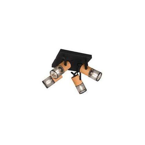Trio Tosh 804300432 plafon lampa sufitowa 4x40W E14 czarny/drewniany (4017807467680)