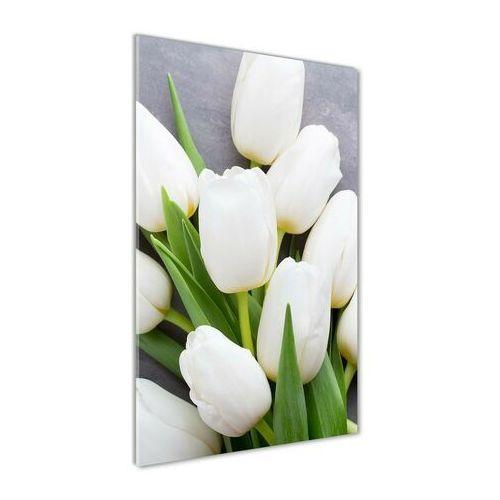 Foto obraz akryl do salonu białe tulipany marki Wallmuralia.pl