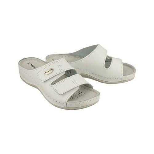Tamaris 27510-20 117 white leather, klapki damskie - biały