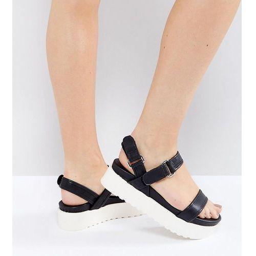 wide fit sporty flatform sandal - black, New look