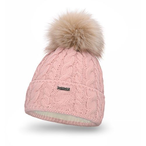 Zimowa czapka damska PaMaMi - Pudrowy róż - Pudrowy róż