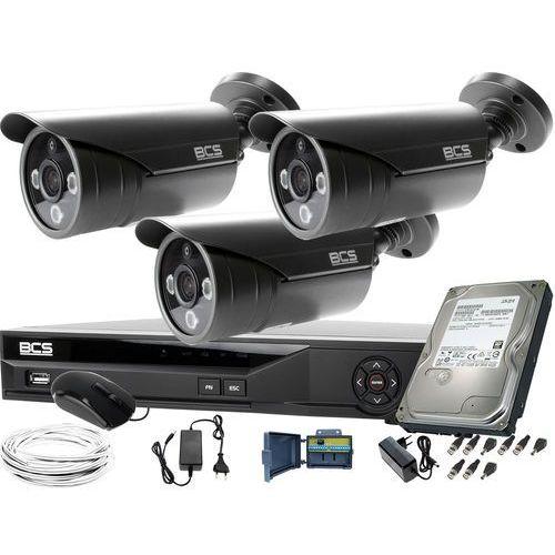 3x -tqe3500ir3-g zestaw do monitoringu z podglądem nocnym: rejestrator bcs-xvr04014ke +dysk 1tb + akcesoria marki Bcs