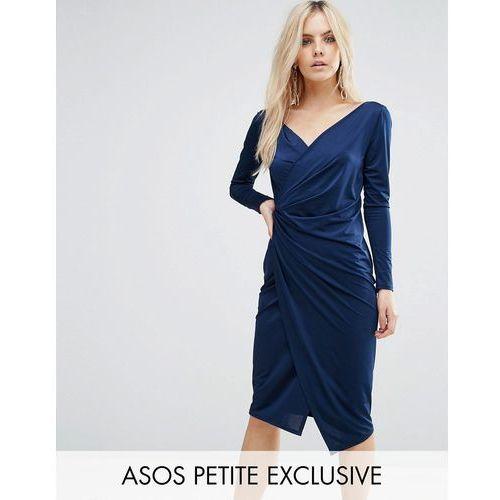 ASOS PETITE Long Sleeve Wrap Pencil Dress - Blue, kolor niebieski