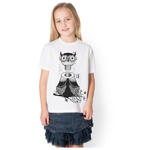 Koszulka dziecięca Dokręcana Sowa, kolor biały