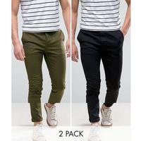 ASOS 2 Pack Skinny Chinos In Black & Khaki SAVE - Multi, chinosy