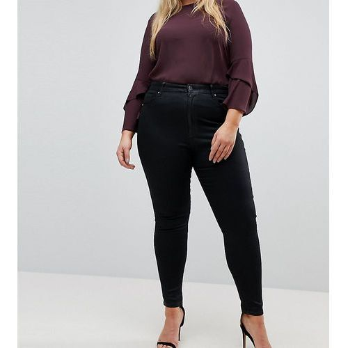 Asos curve Asos design curve 'sculpt me' premium jeans in black coated - black