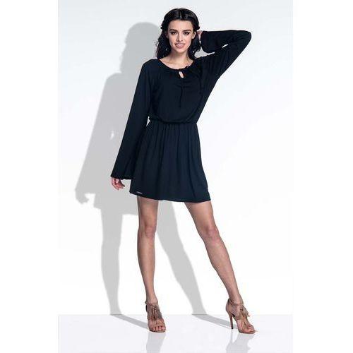 Czarna Sukienka z Rozkloszowanymi Rękawami, YF389bl
