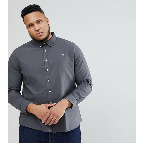 brewer slim fit shirt oxford shirt in grey exclusive at asos - grey marki Farah