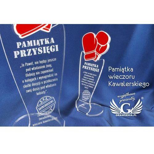 Grawernia.pl - grawerowanie i wycinanie laserem Pamiątka wieczoru kawalerskiego - rękawice bokserskie - model dta32 - wysokość 25 cm