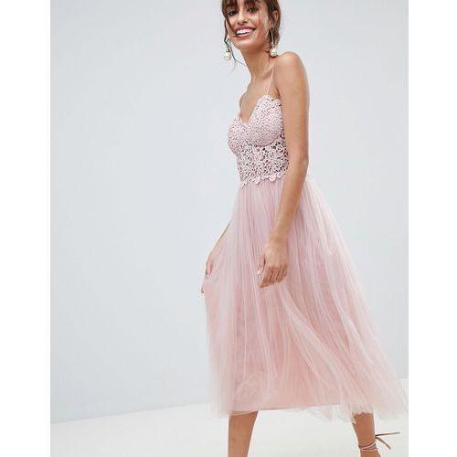 premium lace cami top tulle midi dress - pink marki Asos design