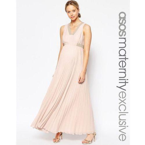 Asos maternity  pleated maxi dress - pink