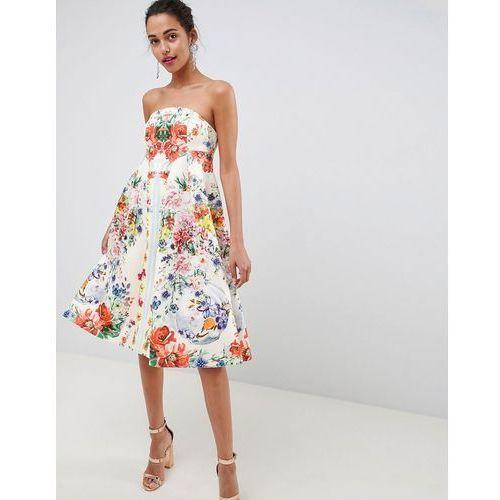 494164fe81 Asos design bandeau floral midi trapeze prom dress - multi