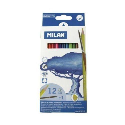 Kredki akwarelowe 12 kolorów z pędzelkiem marki Milan