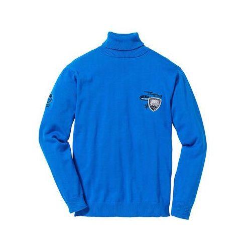 Sweter z golfem Regular Fit bonprix lazurowy, bawełna