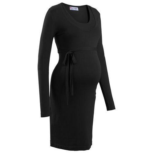 Sukienka dzianinowa ciążowa i do karmienia piersią, z wiązanym paskiem czarny marki Bonprix