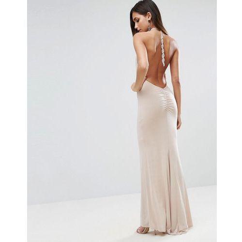 slinky halter embellished ruched back maxi dress - pink, Asos