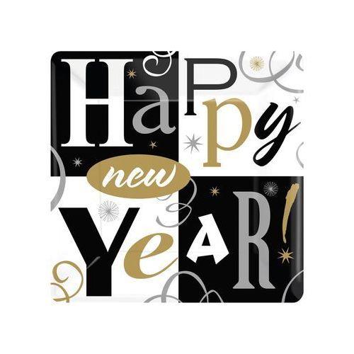Talerzyki papierowe Happy New Year - 26 cm - 8 szt.