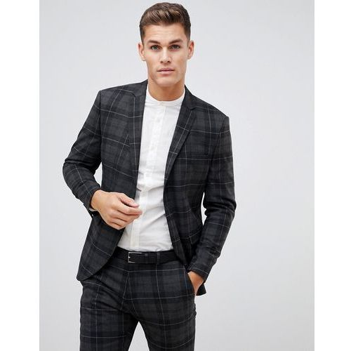 Selected homme grey check suit jacket with patch pockets in slim fit - grey