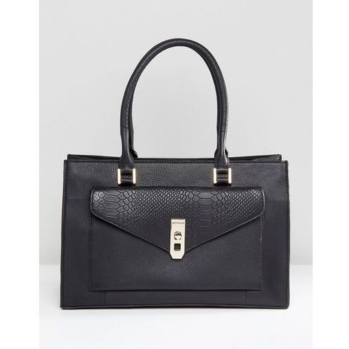 Paul costelloe real leather black tote with snake embossed pocket - black