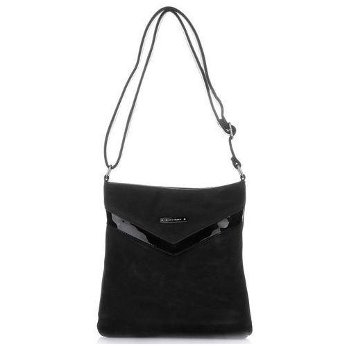 Eleganckie torebki damskie listonoszka zamsz naturalny/skóra eko lakier czarna (kolory) marki Silvia rosa