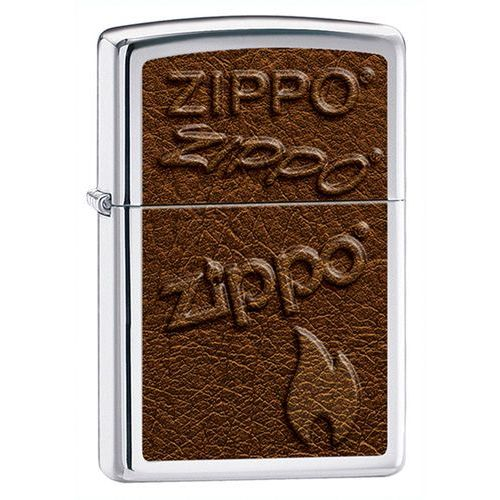 Zapalniczka Zippo Logo Leather Image, High Polish Chrome
