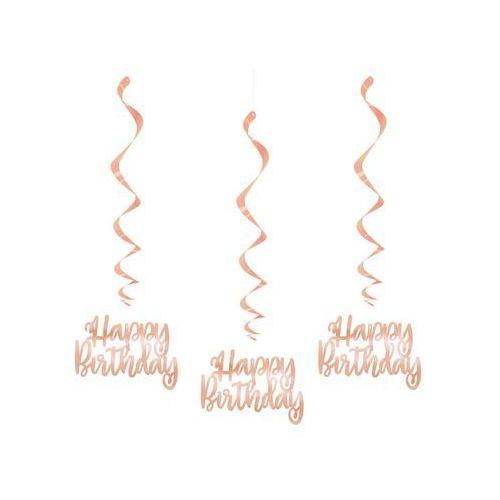 Dekoracja wisząca świderki happy birthday różowe złoto - 3 szt. marki Unique