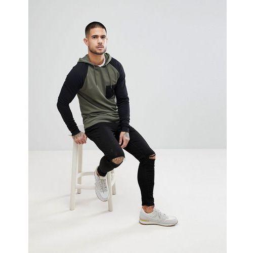 Asos muscle hoodie with contrast raglan sleeve in khaki and black - green