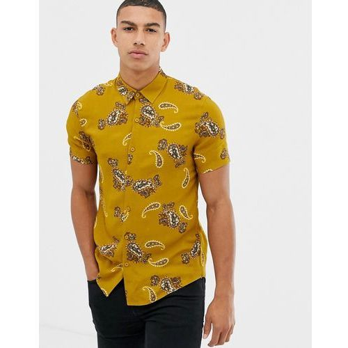 New Look regular fit paisley print shirt in mustard - Yellow, kolor żółty