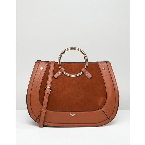 Dune tote bag in tan with round metal top handle - tan