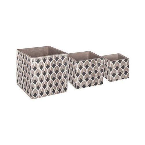 Trzy donice, betonowe, ornament, trwałe, stabilne, różne wielkości, stylowe, ze wzorem marki Atmosphera
