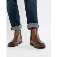 New Look faux leather chelsea boots in brown - Black