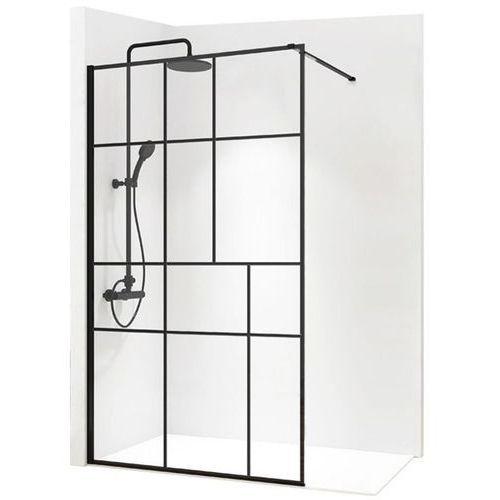 REA BLER 2 Ścianka prysznicowa 120cm, czarne profile + powłoka EASY CLEAN, loftowe (5902557343461)