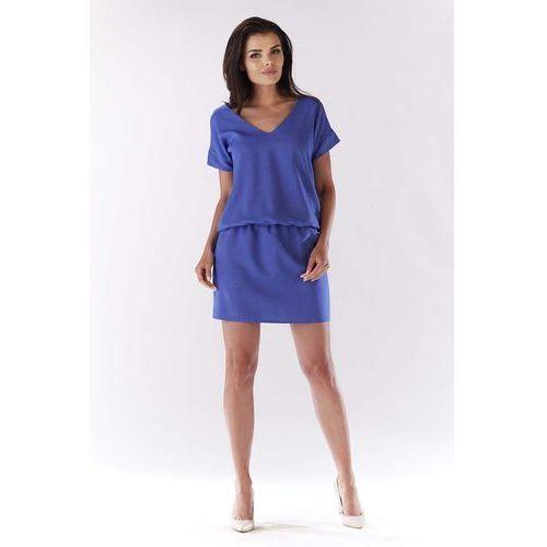 Niebieska Sukienka z Dekoltem na Plecach, w 4 rozmiarach