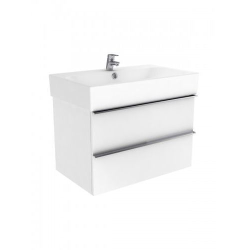 New Trendy Kubiko szafka wisząca + umywalka biały połysk 100 cm ML-PI010