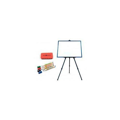Zestaw - tablica magnetyczna 60x40 rama granatowa + sztaluga + markery + gąbka marki Allboards