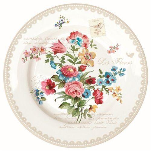 Dekoria talerz płytki les fleurs, białe tło beżowa obwoluta śr. 27 cm, o27 cm