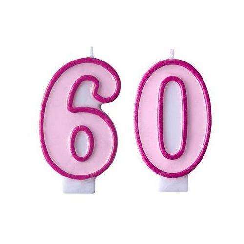 Party deco Świeczki cyferki różowe - 60 - sześćdziesiątka - 2 szt.