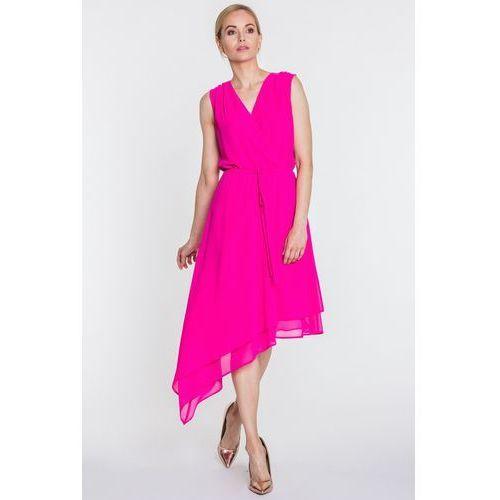 Amarantowa sukienka z asymetrycznym dołem - SU, kolor różowy