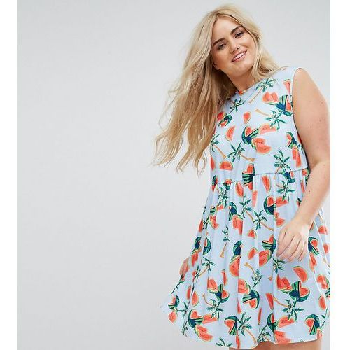 sleeveless smock dress in watermelon print - multi marki Asos curve