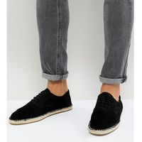 wide fit lace up espadrilles in black suede - black, Frank wright