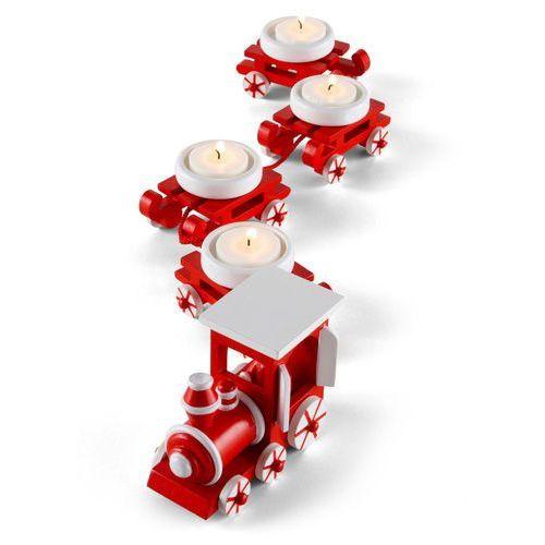 """Świecznik """"pociąg świąteczny""""(5 części) czerwono-biały marki Bonprix"""