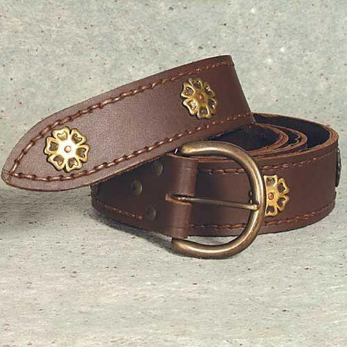 Długi brązowy rycerski zdobiony pas (ws200678) marki Płatnerze