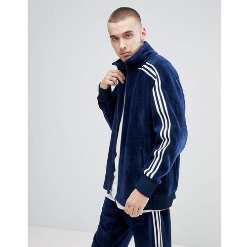 adicolor velour track jacket in oversized fit in navy cw4915 - navy, Adidas originals