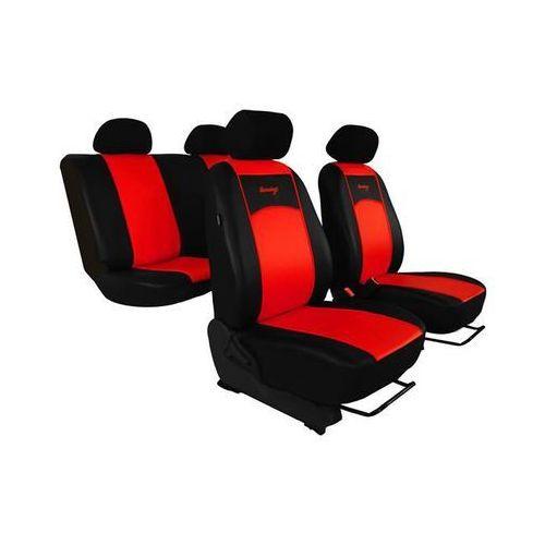 Pokrowce samochodowe uniwersalne eko-skóra czerwone audi 80 b4 1990-2000 - czerwony marki Pok-ter