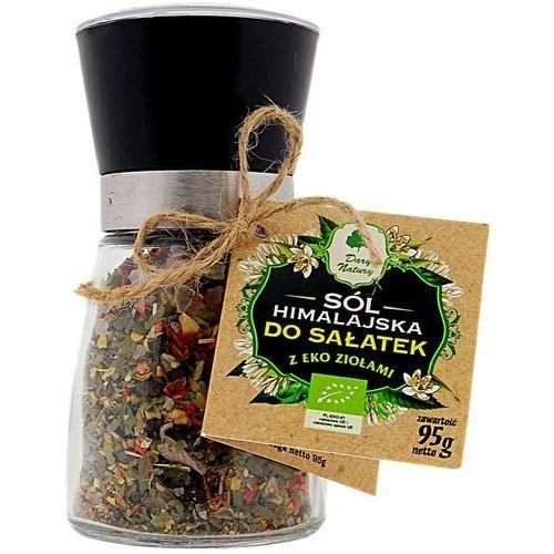 Sól himalajska w młynku z ziołami bio do sałatek 95 g - dary natury marki Dary natury - przyprawy i zioła bio