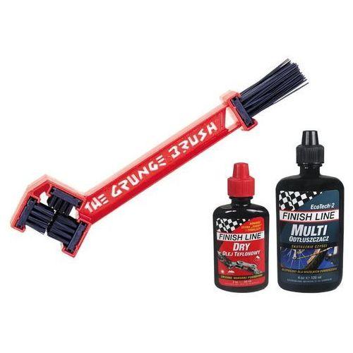 Szczotka do czyszczenia łańcucha i zębatek kasety grunge brush + ecotech 120 ml + teflon plus 60 ml zestaw marki Finish line