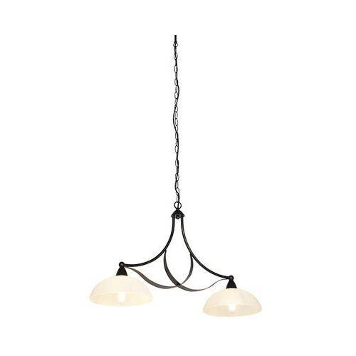 Klasyczna lampa wisząca brązowa z opalowym szkłem 2-lekkim - unik marki Honsel