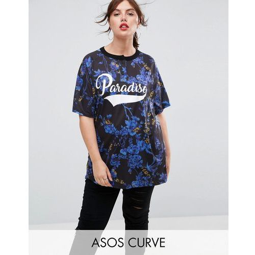 ASOS CURVE Super Oversized Button Neck T-Shirt with Paradise Print - Multi